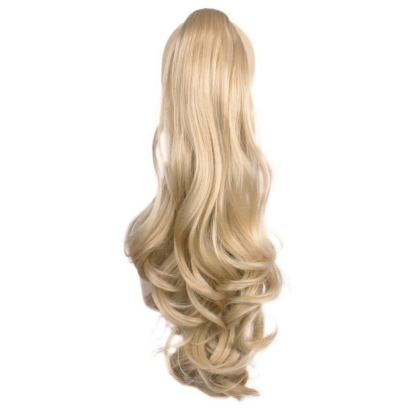 Attractive Fluffy Wave Long Capless Trendy Claw Clip Synthetic Women's Ponytail - LIGHT BLONDE /