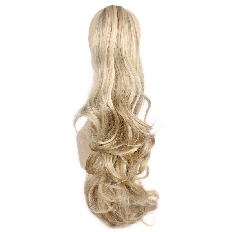 Attractive Fluffy Wave Long Capless Trendy Claw Clip Synthetic Women's Ponytail - KHAKI F 3/