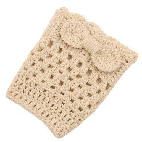 Pair of Chic Bow Embellished Hollow Out Women's Knitted Boot Cuffs - OFF WHITE