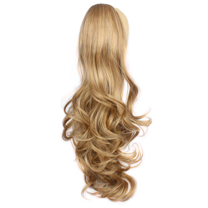 Fluffy Wave Claw Clip Vogue Long Brown Blonde Mixed Synthetic Ponytail For Women - COLORMIX