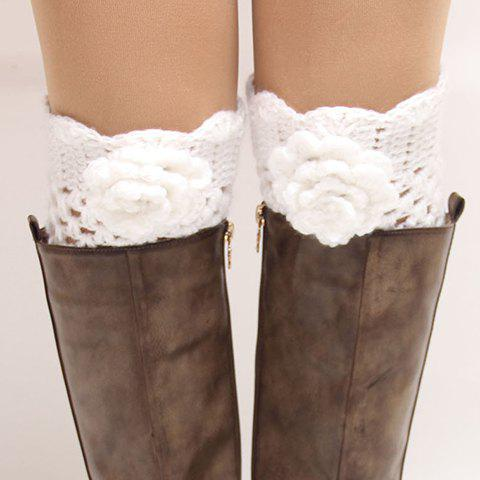 Pair of Chic Flower Shape Embellished Hollow Out Women's Knitted Boot Cuffs - WHITE