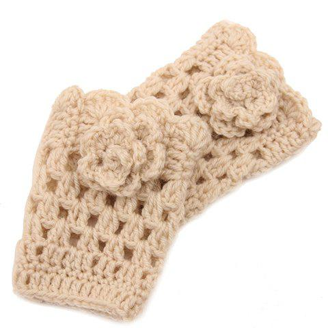 Pair of Chic Flower Shape Embellished Hollow Out Women's Knitted Boot Cuffs - OFF WHITE