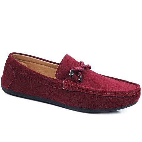 Stylish Criss-Cross and Suede Design Casual Shoes For Men - WINE RED 44