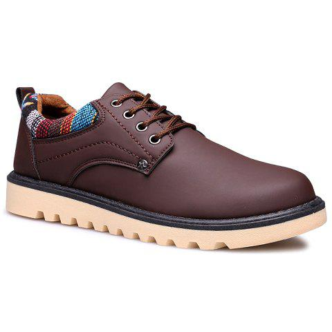 British Style Platform and Round Toe Design Casual Shoes For Men - COFFEE 41