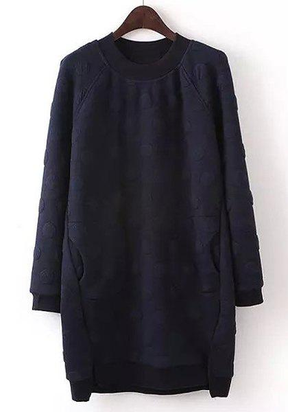 Chic Round Neck Long Sleeve Pocket Design Asymmetrical Women's Dress - PURPLISH BLUE L