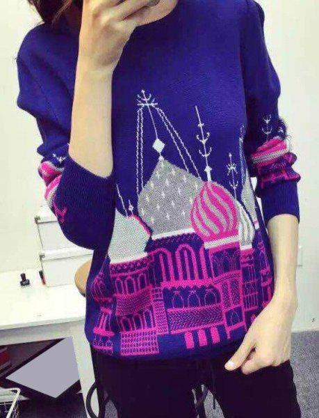 Chic Long Sleeve Round Neck Women's Pullover Sweater - BLUE ONE SIZE(FIT SIZE XS TO M)