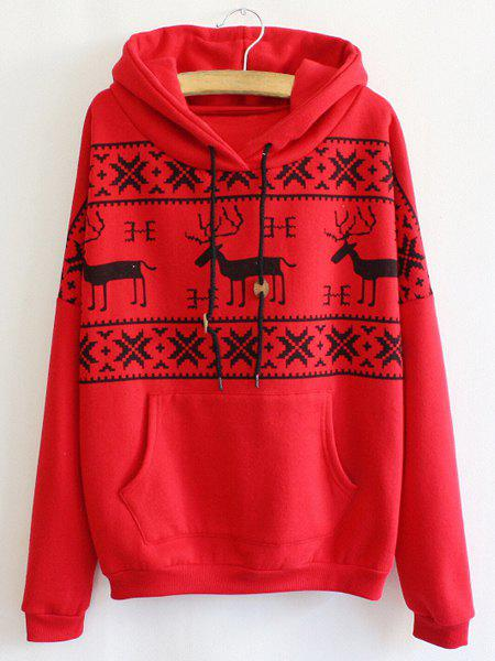 Cute Fawn Print Hooded Long Sleeve Hoodie For Women - RED ONE SIZE(FIT SIZE XS TO M)