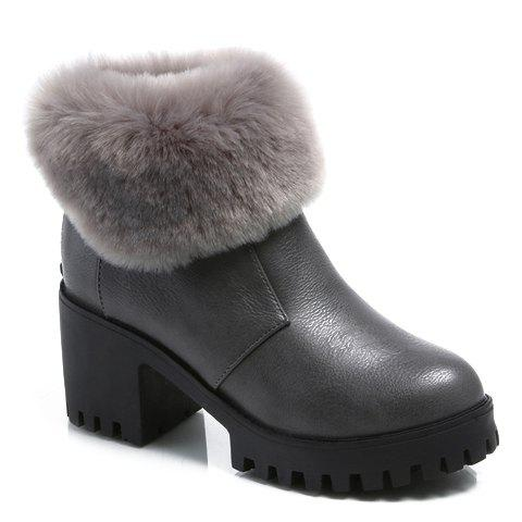 Graceful Zipper and PU Leather Design Women's Short Boots