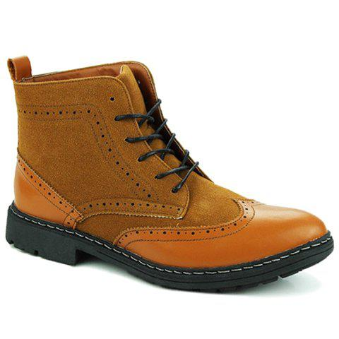 Vintage Splicing and Engraving Design Ankle Boots For Men - BROWN 42