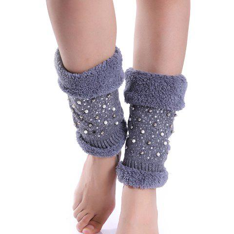 Pair of Chic Fake Fur and Bead Embellished Women's Knitted Boot Cuffs - LIGHT GRAY