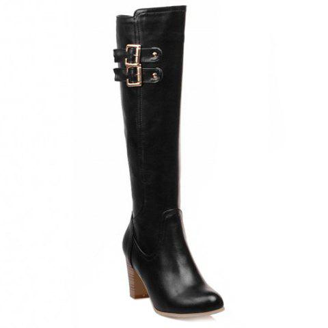 Stylish Chunky Heel and Double Buckles Design Mid-Calf Boots For Women - BLACK 36