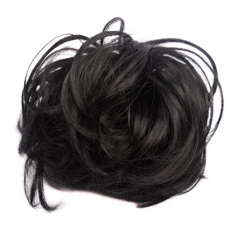 Fluffy Heat Resistant Fiber Prevailing Curly Women's Capless Chignons - B
