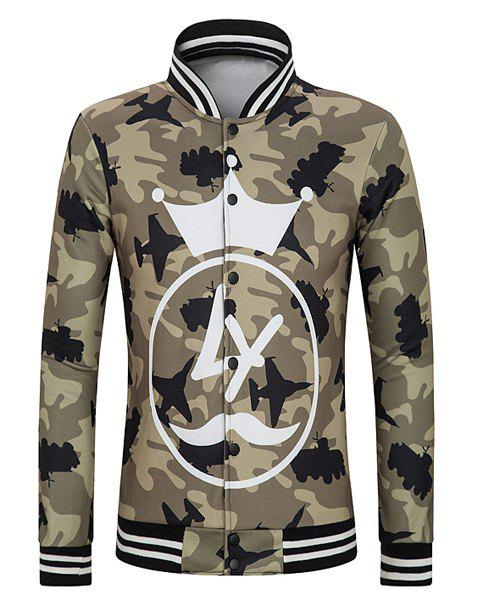 Slimming Stand Collar Cartoon Crown Print Striped Rib Spliced Long Sleeves Men's Camo Jacket - CAMOUFLAGE COLOR 2XL