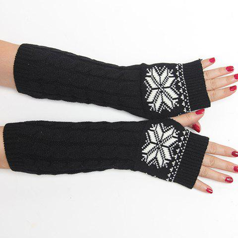 Pair Of Chic Snowflake Pattern Hemp Flowers Womens Knitted Fingerless Gloves