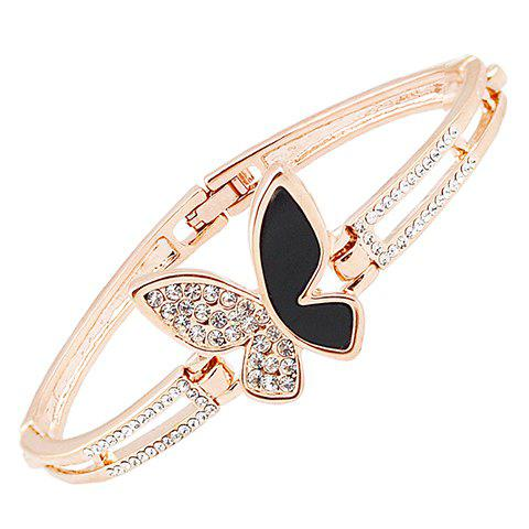 Graceful Rhinestoned Butterfly Bracelet For Women - GOLDEN