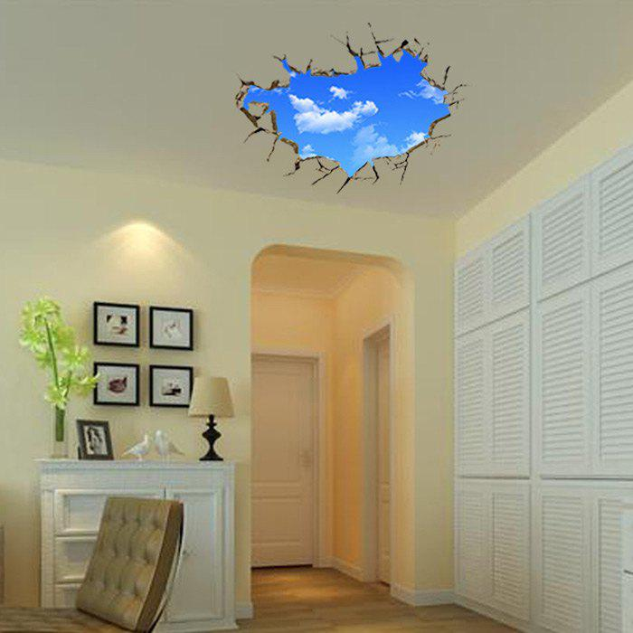 3D Blue Sky and White Cloud Style Removable Wall Stickers Colorful Room Window Decoration blue sky white cloud style 3d stickers for walls