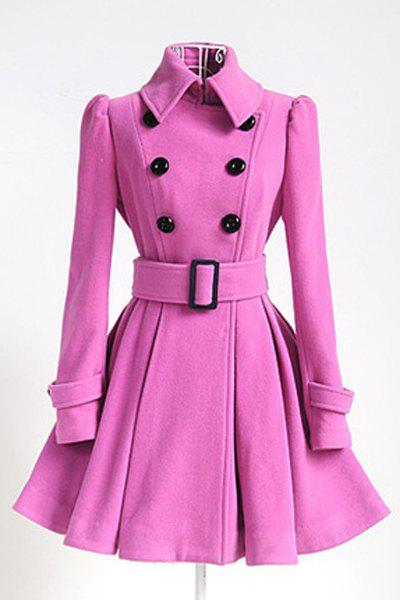 Double Breasted Fit and Flare Wool Coat - PINK XL