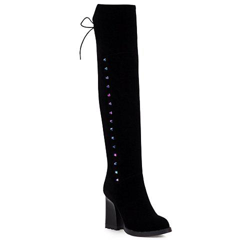 Fashion Lace-Up and Zipper Design Over The Knee Boots For Women - BLACK 38