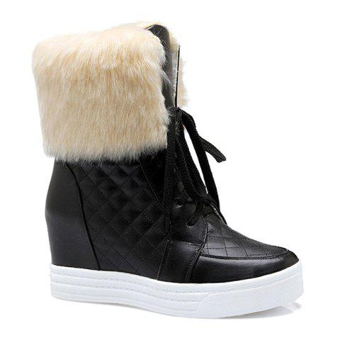 Fashion PU Leather and Checked Design Snow Boots For Women - BLACK 39