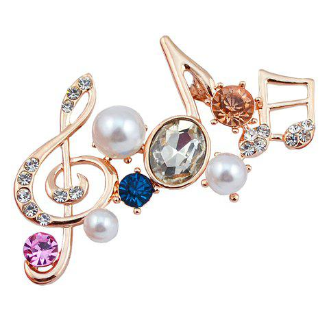 Music Note Rhinestone Faux Pearl Brooch - RANDOM COLOR