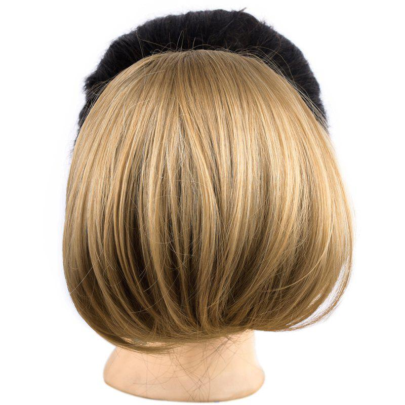 Stylish Straight Brown Mixed Blonde Capless Elegant Synthetic Women's Chignons