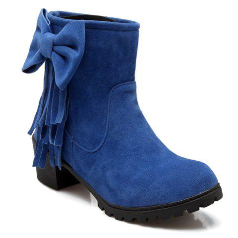 Sweet Bow and Fringe Design Short Boots For Women - BLUE 38