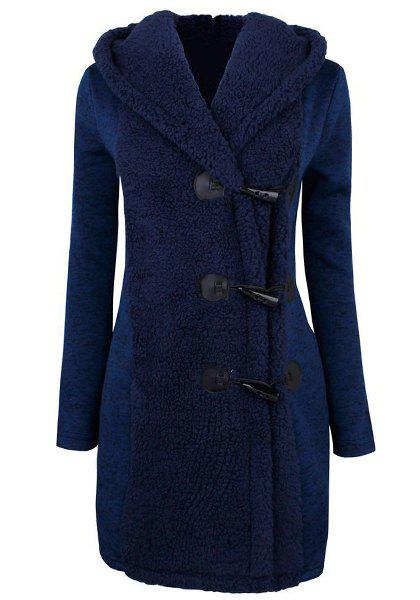 Chic Style Button Design Hooded Long Sleeve Worsted Coat For Women - BLUE S