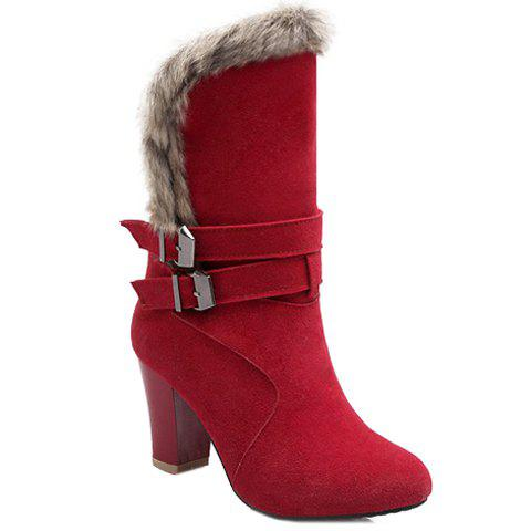 Fashionable Faux Fur and Buckles Design Women's Mid-Calf Boots - RED 38