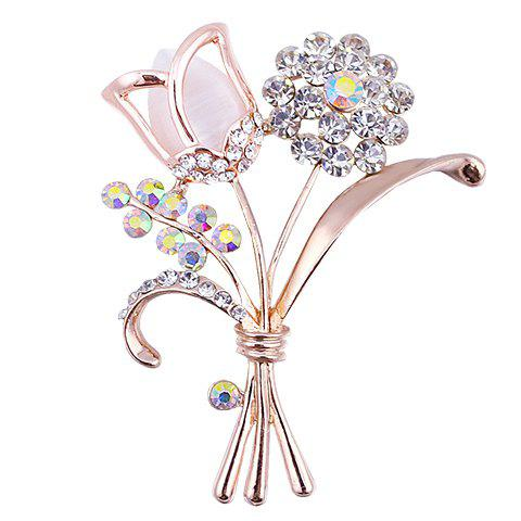Graceful Rhinestoned Floral Shape Brooch For Women - RANDOM COLOR