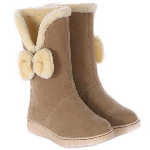 Cute Bowknot and Plush Design Women's Mid-Calf Boots