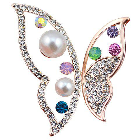 Rhinestoned Faux Pearl Butterfly Hollow Out Brooch - RANDOM COLOR