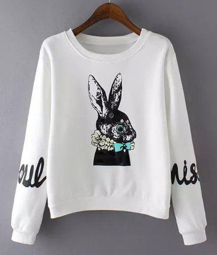 Chic Long Sleeve Round Neck Bunny Pattern Women's Sweatshirt - WHITE S