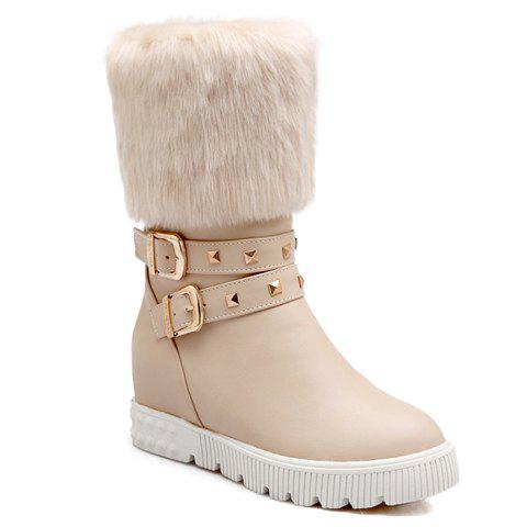 Simple Buckles and Rivets Design Snow Boots For Women - OFF WHITE 38