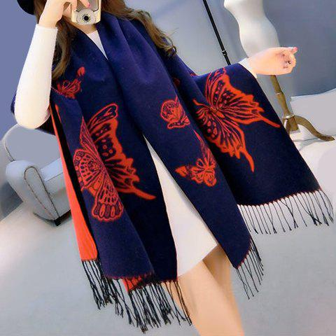 Chic Big Butterfly Pattern Tassel Winter Pashmina For Women - RED