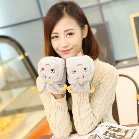 Pair of Chic Cartoon Palmerworm Head Shape Embellished Clamshell Gloves For Women - GRAY