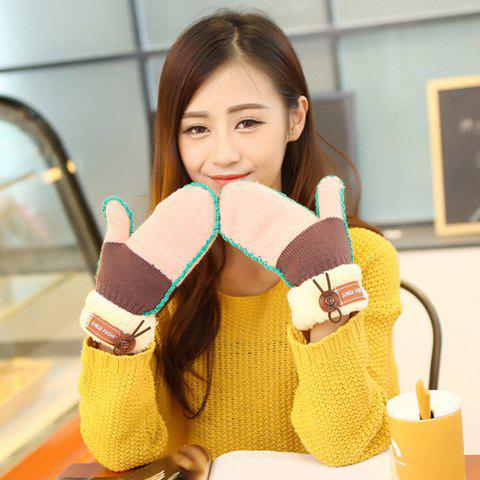Pair of Chic Button and Faux Fur Edge Embellished Women's Knitted Gloves - PINK