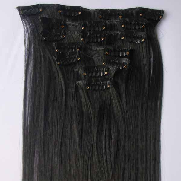 Attractive Fluffy Long Trendy Straight Clip-In Synthetic Hair Extension Suit For Women - JET BLACK