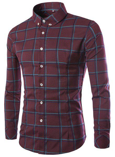 Classic Color Block Plaid Print Shirt Collar Long Sleeves Slimming Men's Button-Down Shirt - RED M