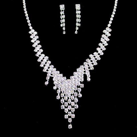 A Suit of Gorgeous Rhinestoned Tassel Necklace and Earrings For Women