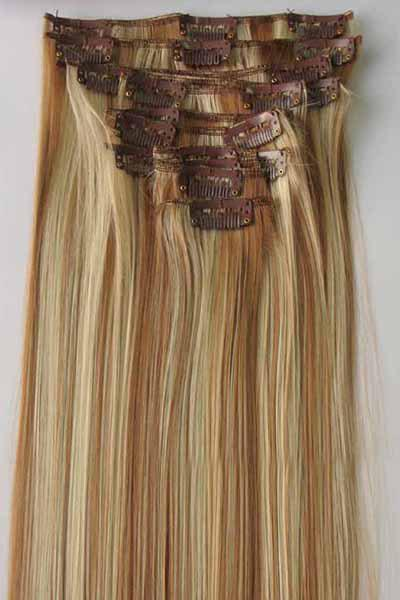 Charming Glossy Straight Synthetic Fashion Long Women's Clip-In Hair Extension Suit - BLONDE