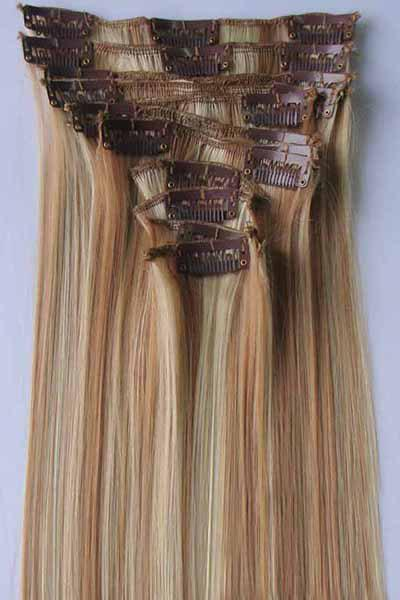 Charming Glossy Straight Synthetic Fashion Long Women's Clip-In Hair Extension Suit - ASH BLONDE 27/613