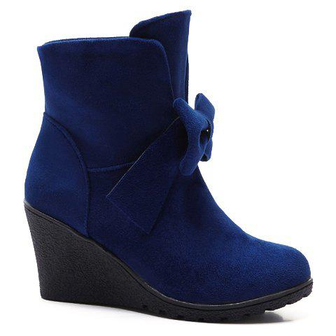 Sweet Bow and Wedge Heel Design Women's Short Boots - BLUE 40