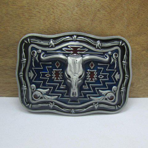 Stylish Ox Head Shape Embellished Cowboy Style Metal Belt Buckle For Men - AS THE PICTURE