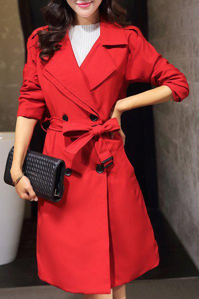 Belted Pure Color Long Sleeve Coat For Women - RED M