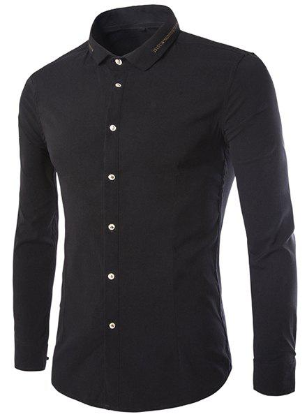 Golden Braid Embellished Slimming Turn-down Collar Long Sleeves Men's Shirt - BLACK M