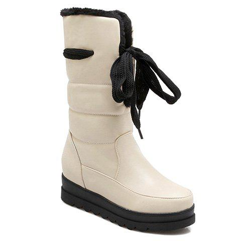 Concise Plush and Lace-Up Design Mid-Calf Boots For Women - OFF WHITE 35