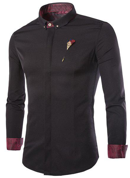 French Front Classic Color Block Slimming Shirt Collar Long Sleeves Men's Button-Down Shirt - BLACK 3XL