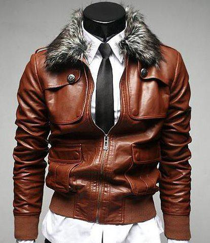 Stereo Pocket Rib Spliced Button Epaulet Design Detachable Fur Collar Long Sleeves Men's PU Leather Jacket - DEEP BROWN L