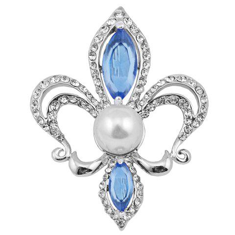 Hollow Out Rhinestoned Faux Pearl Brooch - RANDOM COLOR