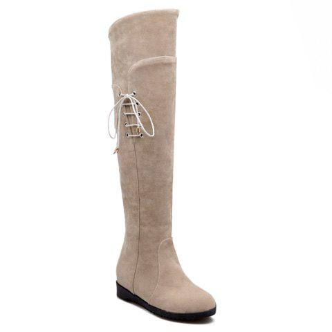 Casual Lacing and Suede Design Over The Knee Boots For Women - OFF WHITE 36